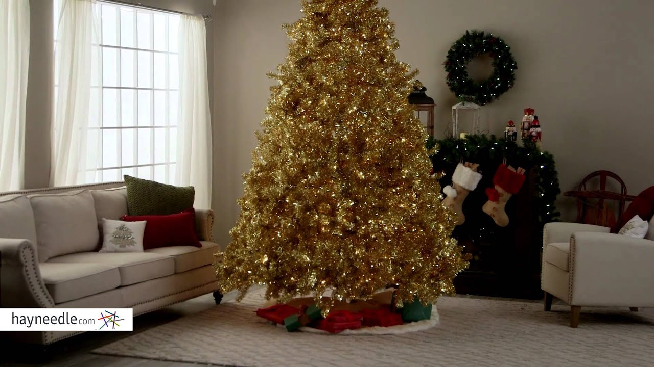 Classic Champagne Gold Full Pre Lit Christmas Tree Product Review Video