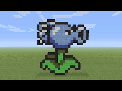 Minecraft Pixel Art - Snowpea Shooter From Plants vs Zombies