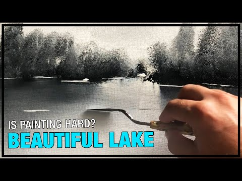 Easy Landscape Painting Demo / Day 003 / For Beginners / Black & White/ Daily Art Therapy