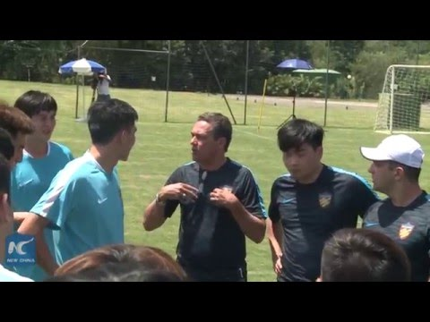 Brazilian coach Luxembourg trains Chinese soccer team in Sao Paulo