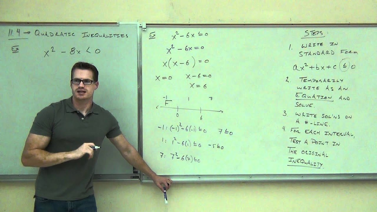 Intermediate Algebra Lecture 11 4 Solving Non Linear And Quadratic Inequalities