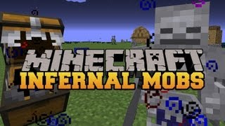 Minecraft : RARE POWERFUL MOBS (MOBS HAVE EPIC EFFECTS AND ATTACKS) Infernal Mobs Mod Showcase