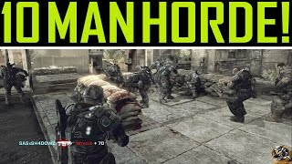 Gears of War 2 - 10 Players Horde Gameplay! Security on INSANE!