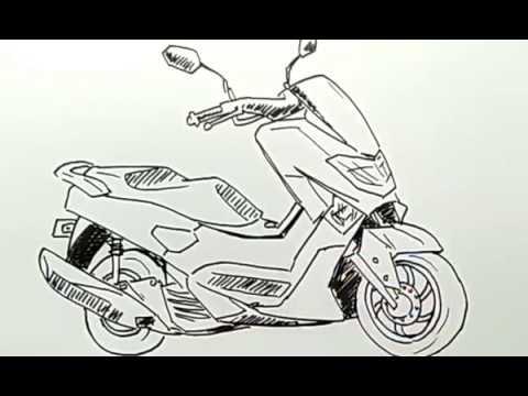 Cara Menggambar Sepeda Motor Nmax Yamaha Dengan Mudah Youtube