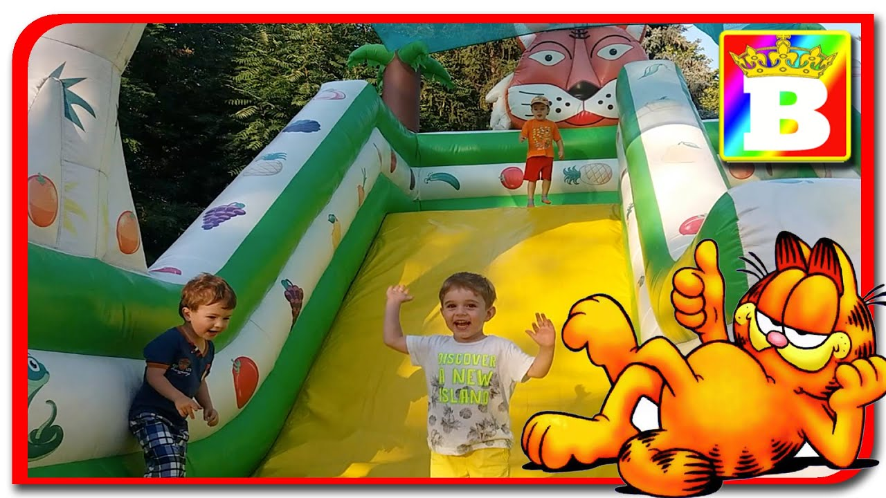 "Garfield"" NEW Outdoor FUN INFLATABLE SLIDES for kids OUTSIDE"