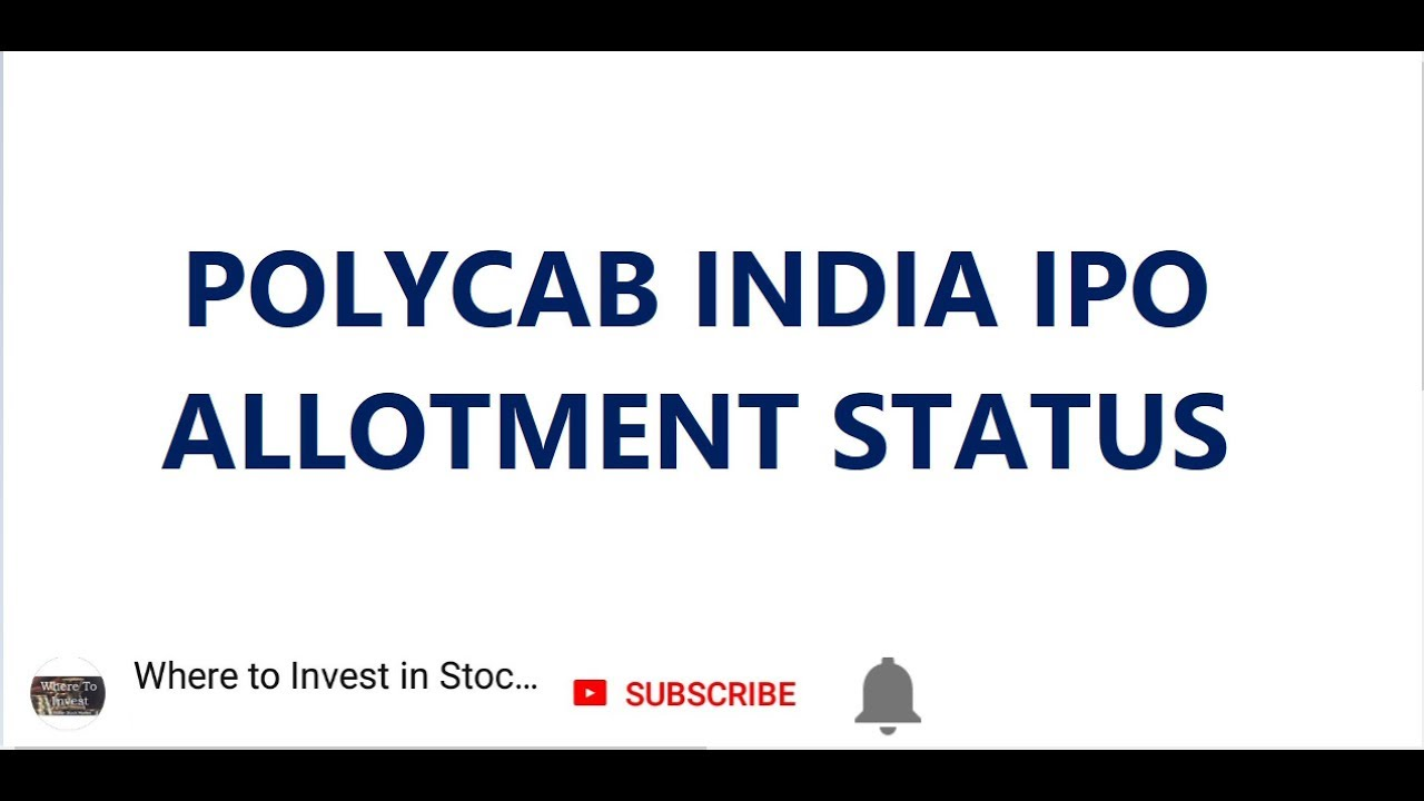 Bse polycab ipo allotment status