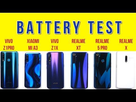 Realme XT vs Vivo Z1x, Z1 Pro, Realme X, 5 Pro, Mi A3: Battery Drain Test   Charging Test