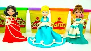 Пластилин Плей-до Принцессы Диснея. Делаем платья для принцесс.  Игрушкин ТВ