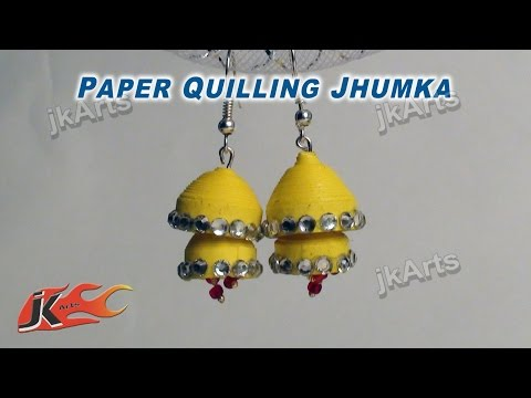 How to make Paper Quilling Earrings | Double layer Jhumka Tutorial | JK Arts 340