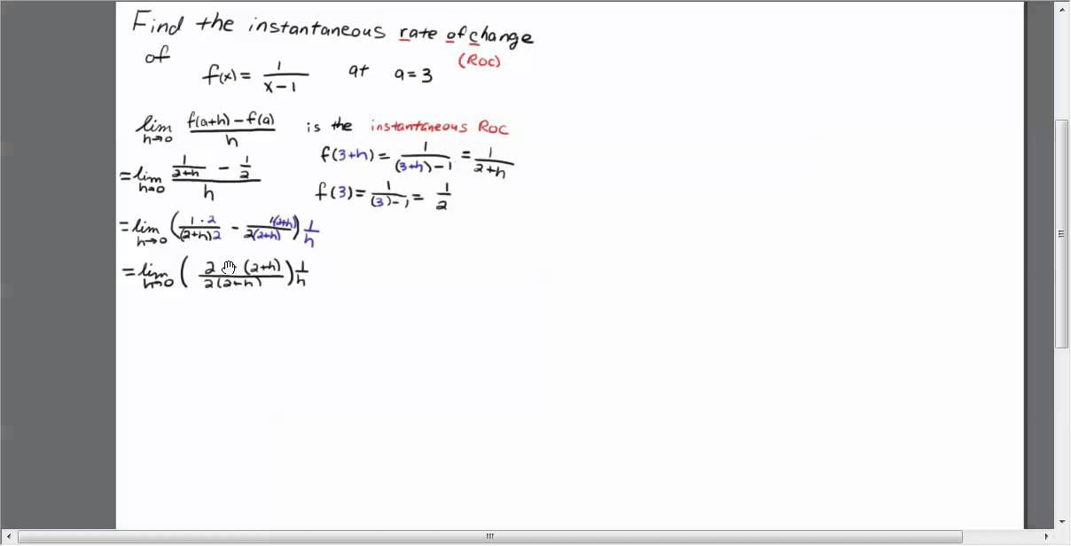 Instantaneous Rate of Change for Difficult Fraction - YouTube