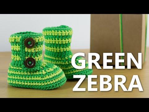 How to Crochet Baby Booties Green Zebra | Croby Patterns