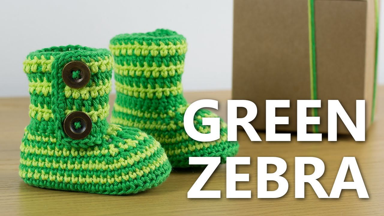 How To Crochet Baby Booties Green Zebra Croby Patterns Youtube