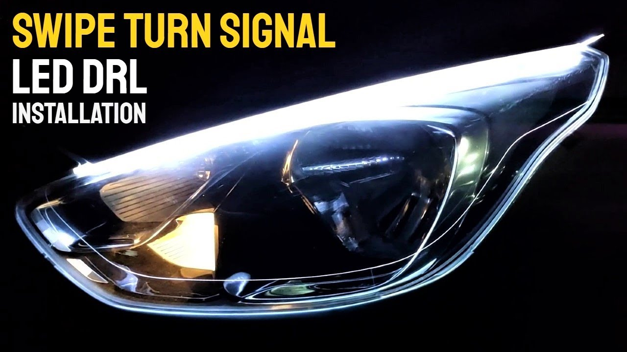 Car LED DRL and Swipe Turn Signal Light Installation Tutorial | Swipe Indicator LED DRL Strip Light