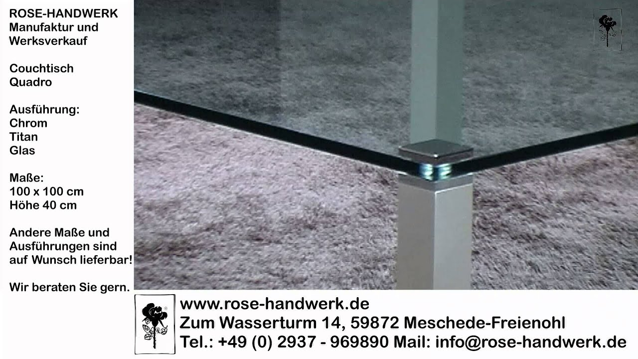 couchtisch quadro metall chrom titan glas youtube. Black Bedroom Furniture Sets. Home Design Ideas
