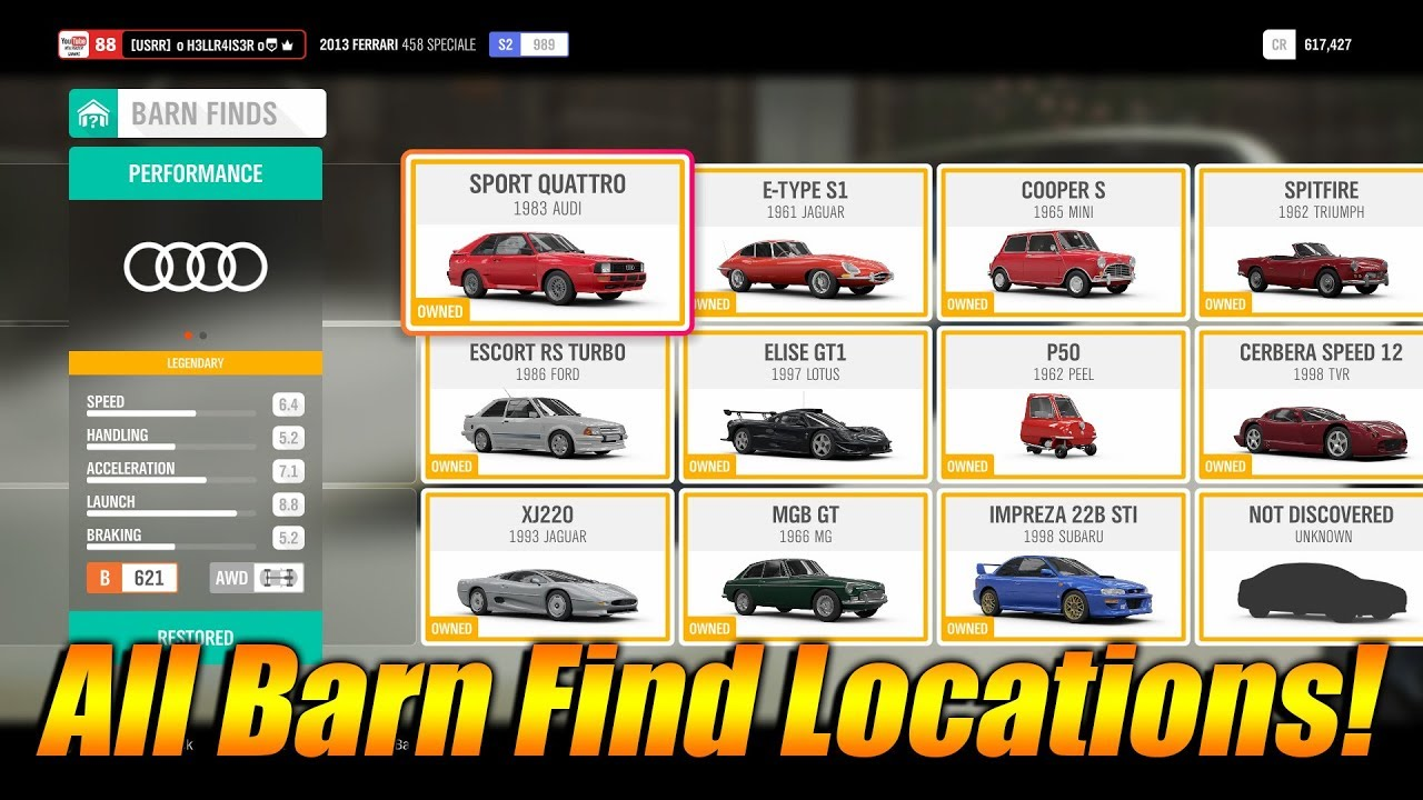 Forza Horizon 4 All Barn Find Locations Every Barn Find In Fh4