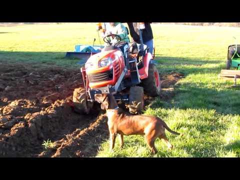 Kubota bx plowing