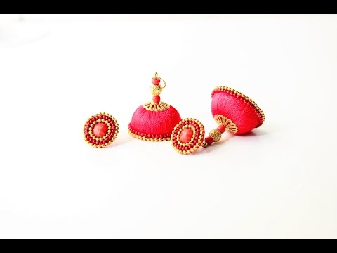 How to make Silk Thread Studded jhumkas/DIY Silk thread Jhumka with stud