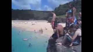 Waimea Bay Cliff diving Fun North Shore Oahu