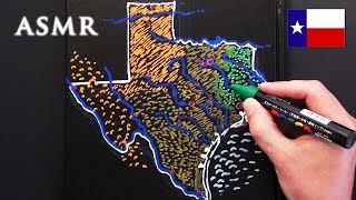 ASMR 1hr Drawing Map of Texas | History of Flags