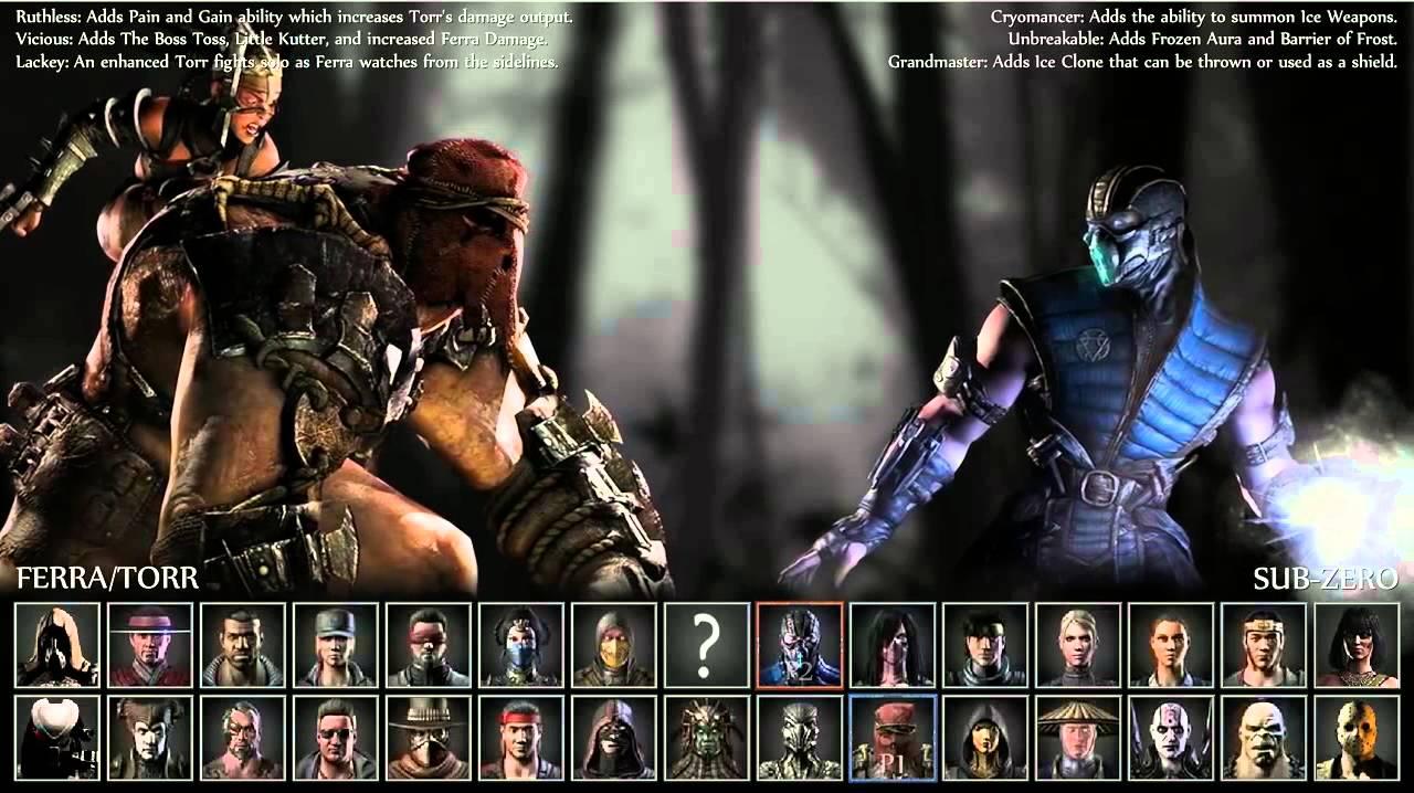 mortal kombat x full roster