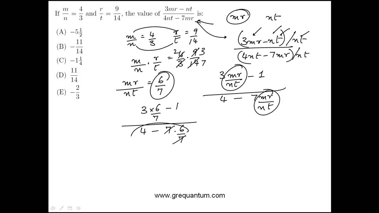 Ratios and Algebraic Manipulation: GRE Practice Question