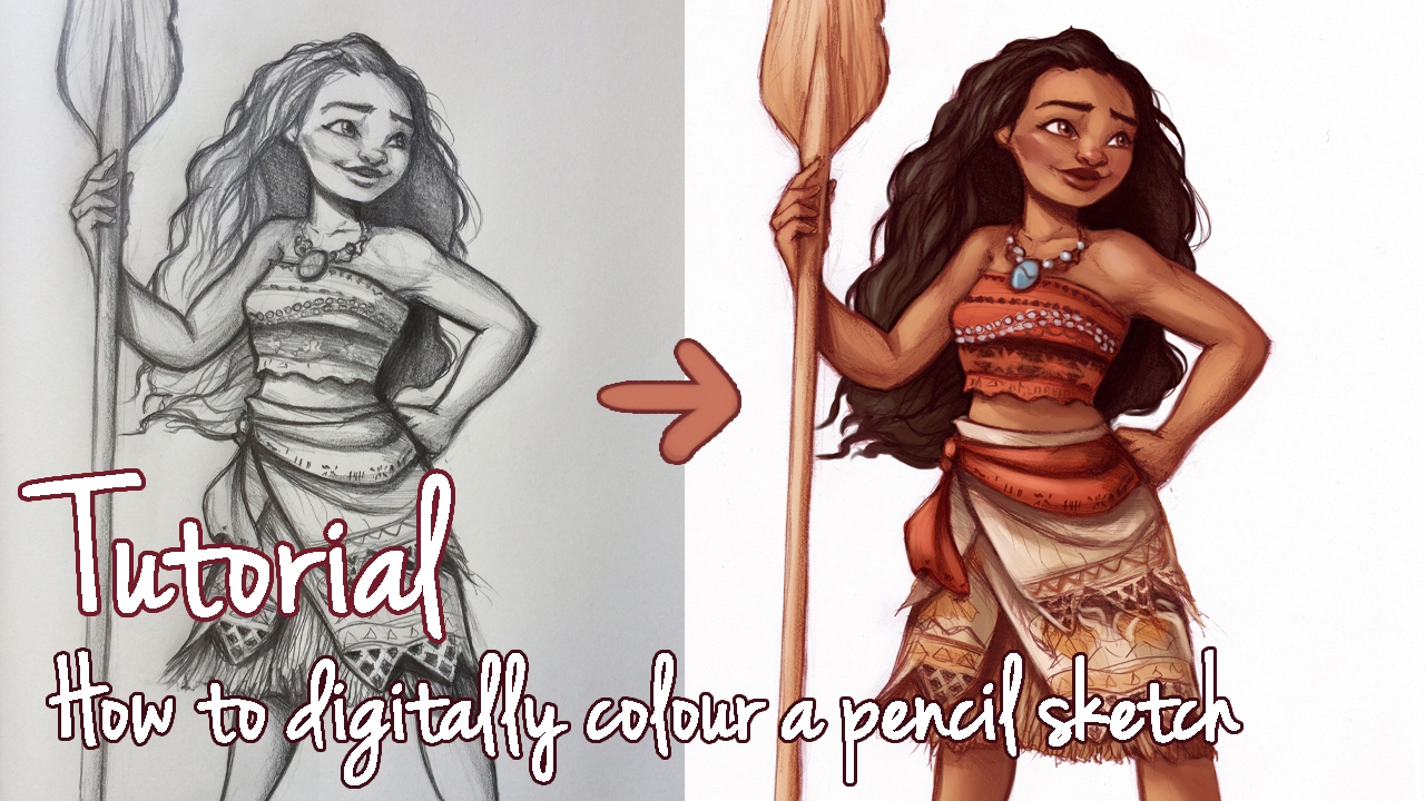 Tutorial how to digitally colour a pencil sketch
