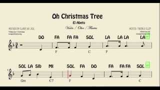 El Abeto Partitura con Notas de Violín Flauta Oboe Oh Christmas Tree Partituras para principiantes