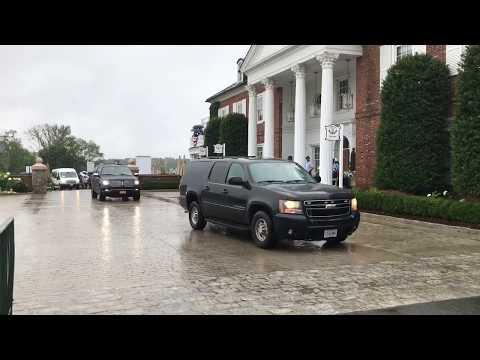 President Trump arrives in Bedminster for U.S. Women's Open