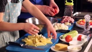 Утренний эфир / Будет вкусно: картошка, запеченная со свининой, сыром и грибами