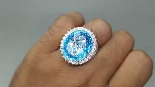 Cincin Batu Blue Topaz Asli Ring Perak Kode 2258