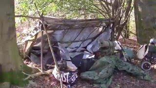 Bushcraft at Bug Out Camp Jan 2016 Wind Rain Hailstone