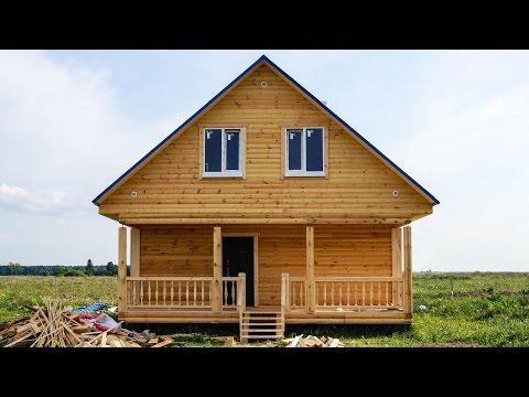 видео: Строительство дома из бруса 8х7м с террасой