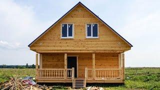 Строительство дома из бруса 8х7м с террасой