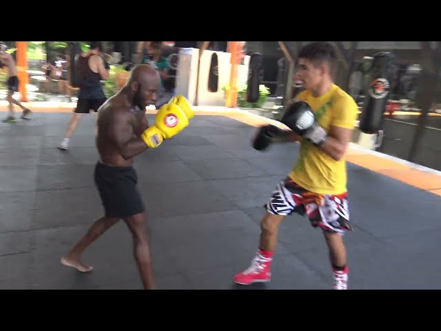 Fabricio Andrade boxing sparring with John Shink and Ben Royle