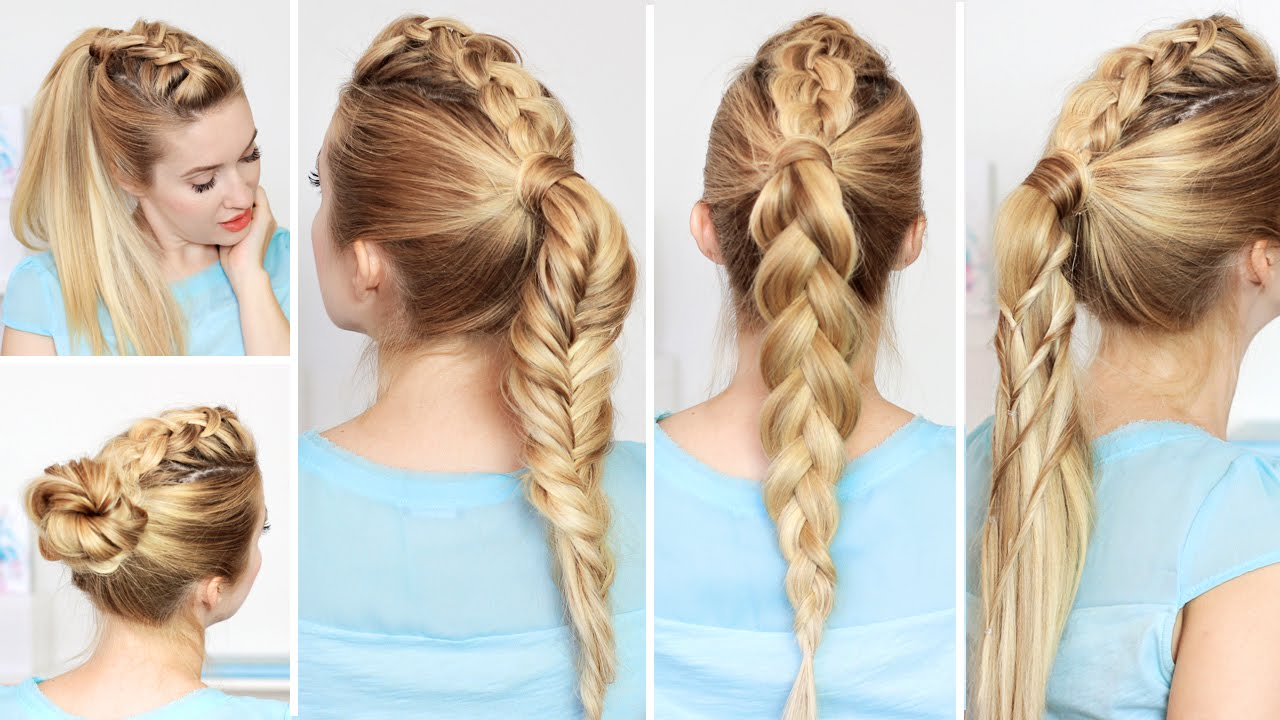 High ponytail hairstyles with braids for school, medium long hair ...
