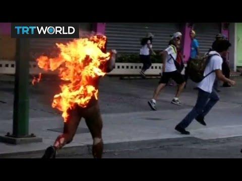Man set on fire in Venezuela protest