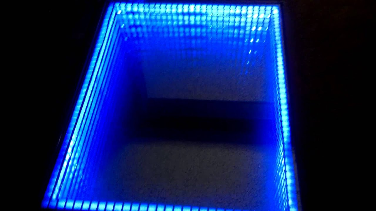 Infinity mirror art coffee table cube design