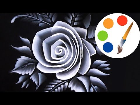 One Stroke, Achromatic rose, how to paint rose, irishkalia