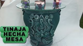 DIY TINAJA,JARRÓN, ORZA HECHA MESA - JAR CONVERTED INTO TABLE