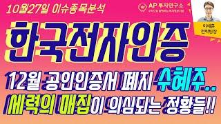 한국전자인증(041460) - 12월 공인인증서 폐지 …