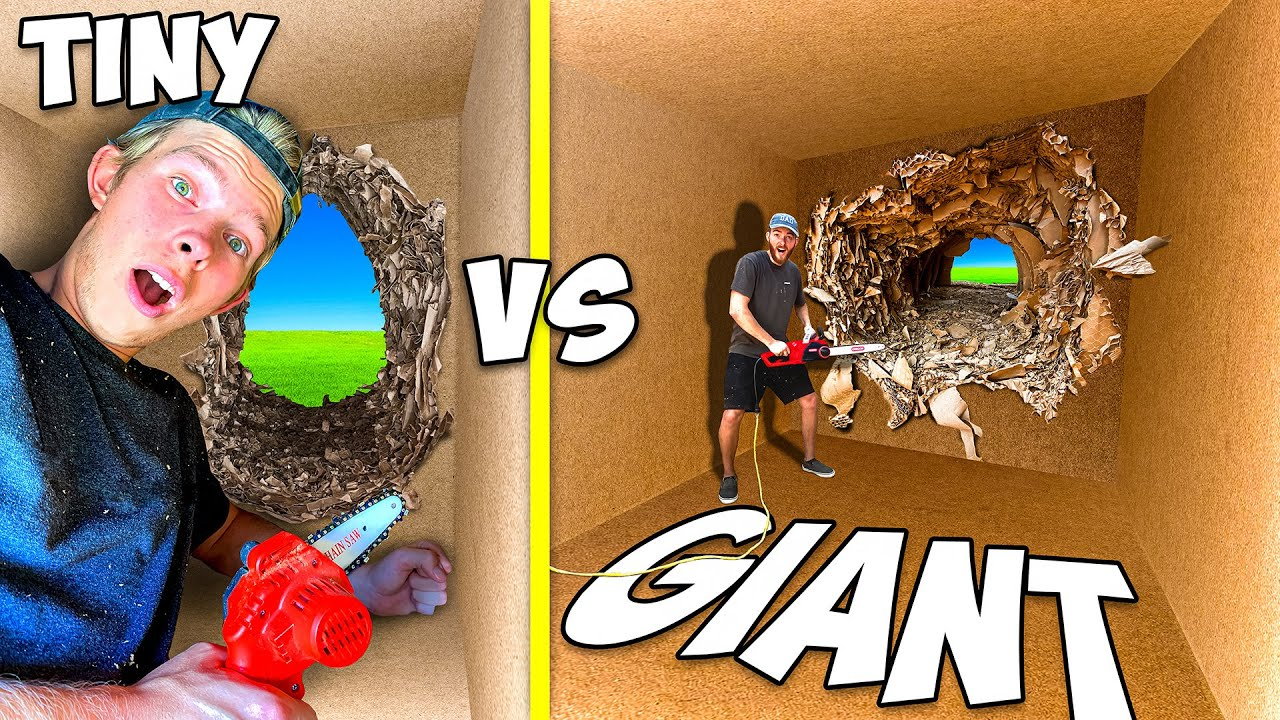 Download Escaping Tiny vs GIANT 100 Layers of Cardboard! *TRAPPED*