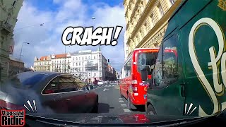 Car crash in Prague, Police in action, Kofola in the ditch, Aggressive driver
