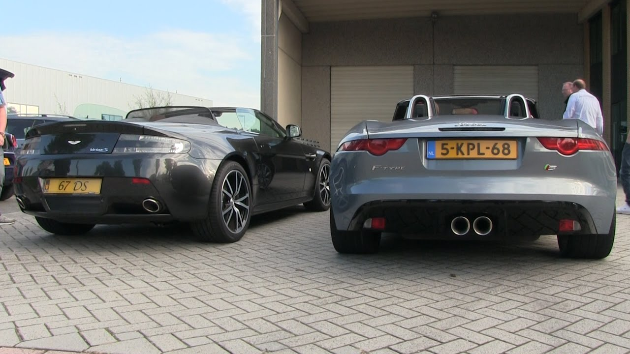 REV BATTLE | Aston Martin V8 Vantage S vs Jaguar F Type V6 ...