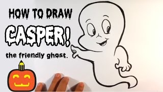 How to Draw Casper the Friendly Ghost - Halloween Drawings