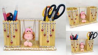 196) Ide Kreatif - Kreasi stik es krim    Popsicle stick craft ideas    Tempat pensil