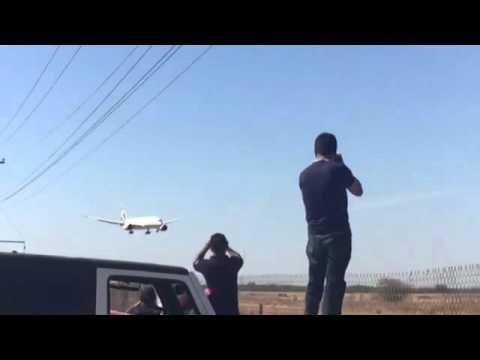 Aterrizaje del nuevo avion presidencial en Hermosillo Sonora