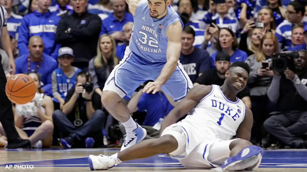 8d1f9117560 Duke's Zion Williamson suffers freak injury when Nike shoe blows out ...