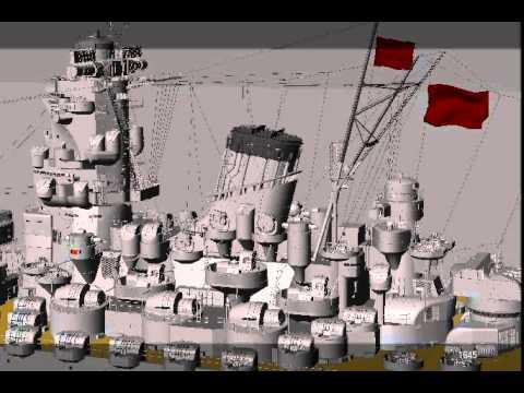 Battleship Yamato 3D Animation Camera Move OpenGL