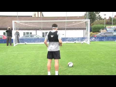 Leicester City players take part in a Blind Football penalty competition (including bloopers)
