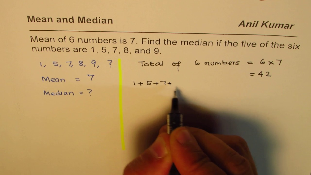 Given Mean Of 6 Numbers Find Missing Number And Median Mvi 4959